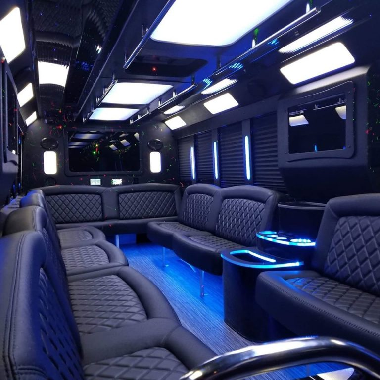 party bus interior with back lights